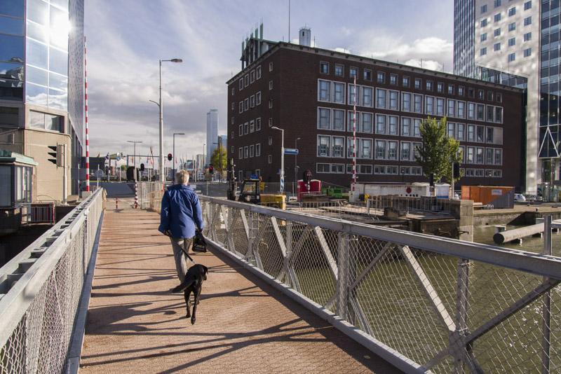 De tijdelijke brug over de Scheepmakershaven. (Foto: Arthur van Beveren)