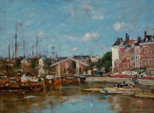 Eugène Boudin Gezicht op de Leuvehaven Rotterdam 1870-1880 Museum Boijmans van Beuningen Rotterdam